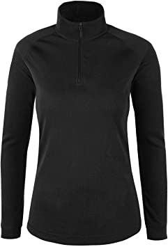 Mountain Warehouse Camiseta térmica con Cremallera de Cuello Mujeres Talus - Camiseta de Manga Larga Ligera, Transpirable, Secado rápido, Invierno Negro 36