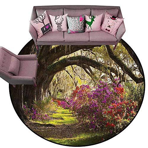 Bathroom Carpet Nature,Mystical Garden Flourishing Diameter 78