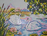 SWANS & LILY PADS NEEDLEPOINT CANVAS FROM DIAMANT #E346 15 1/2'' X 12'' CANVAS ONLY