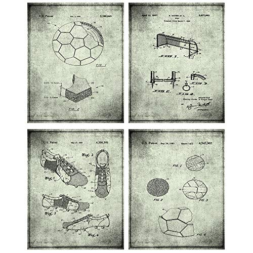 TheNameStore Soccer Patent Print Wall Art - Set of Four Fine Art Photos 8x10 Unframed - Great Gift for Soccer Player Decor -