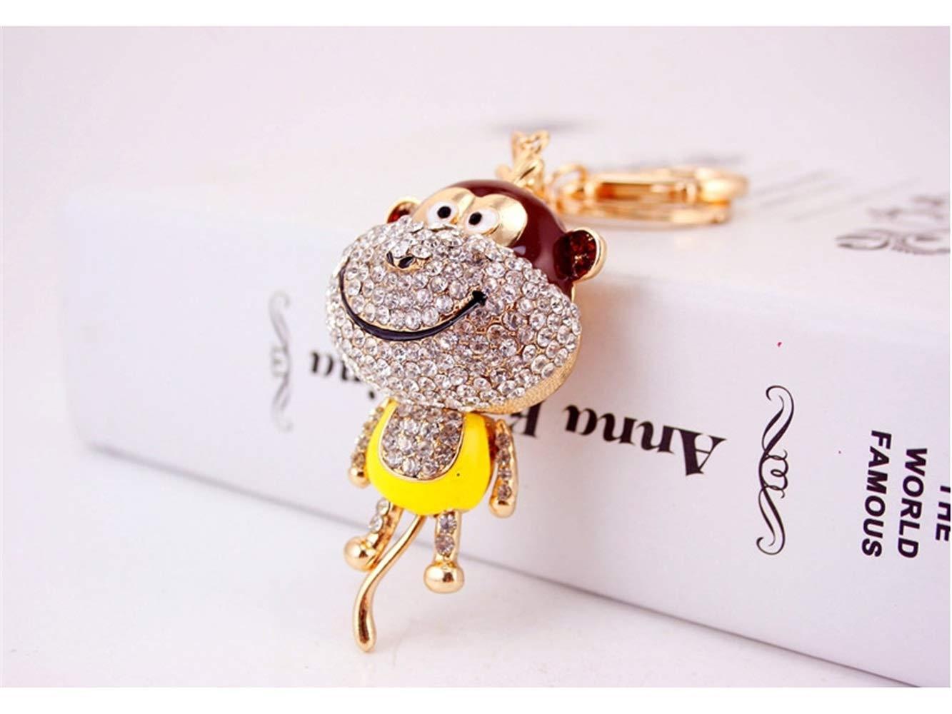Car Keychain, Cute Diamond Long Tail Monkey Keychain Animal Shape Key Trinket Car Bag Key Holder Decorations(Yellow) for Gift