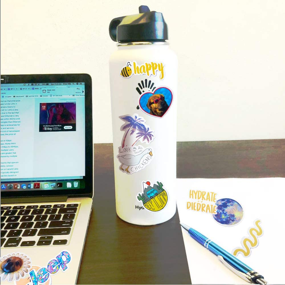 Hrayipt Vsco Stickers Water Bottle Stickers Aesthetic Vinyl Waterproof Cute Luggage Blue Sticker Pack for Girls Teens Kids
