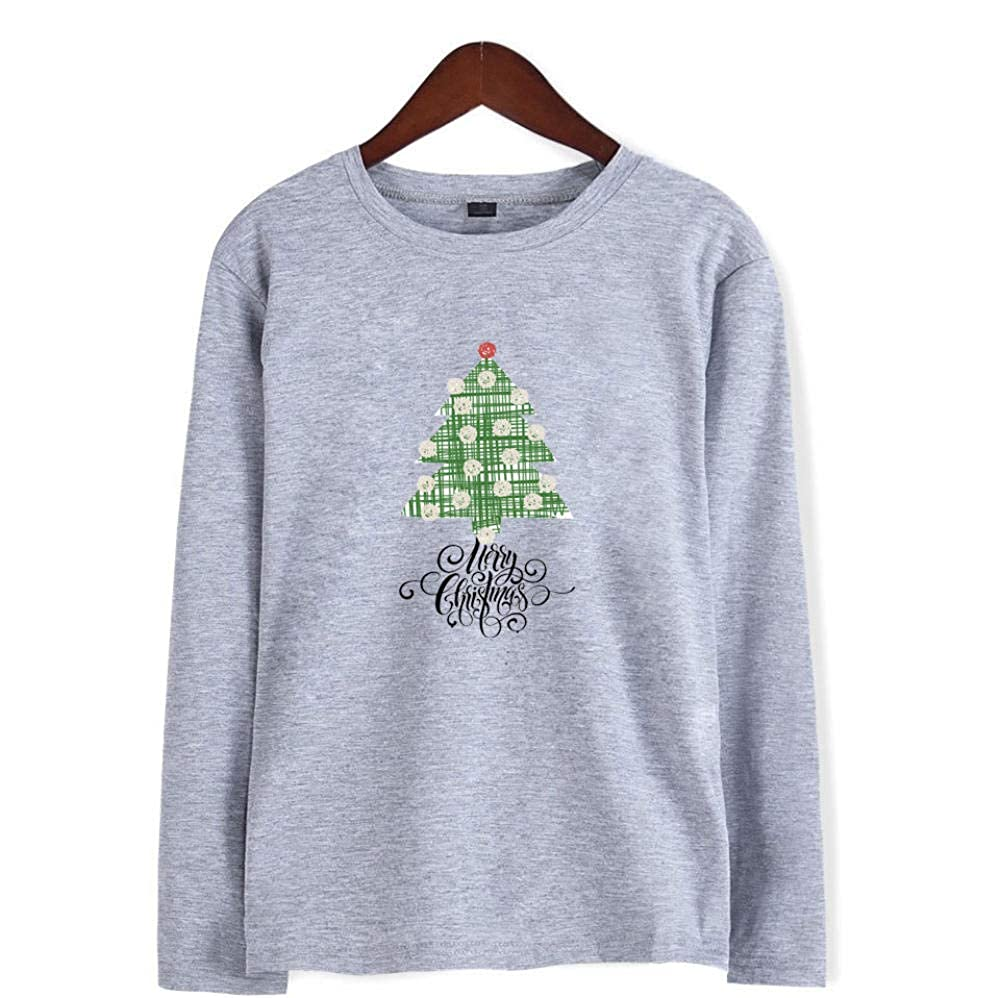 Printed Long-Sleeved T-Shirt,Digital Print Couple Comfort Sweatshirts Exercise Fitness and Tights Sports Christmas Elk