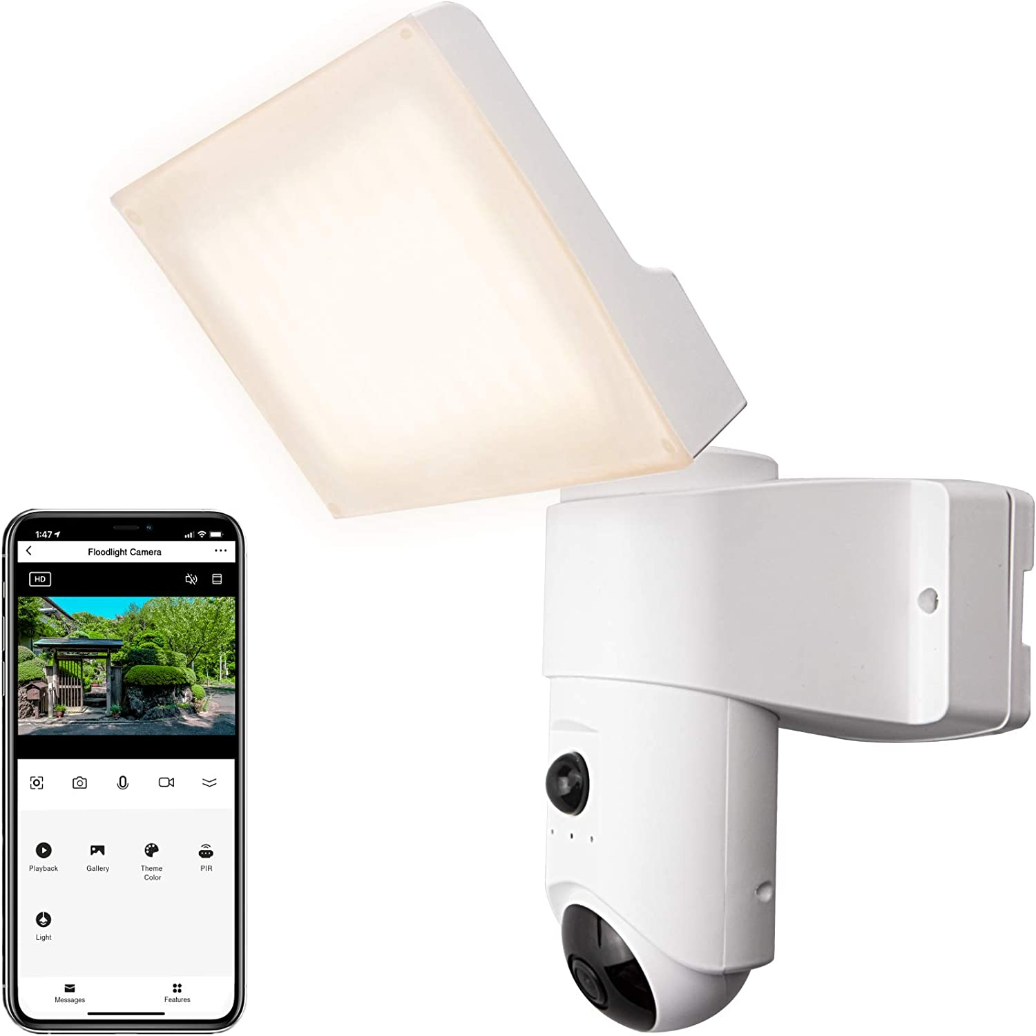 EUARNE Floodlight Camera Smart Security Camera with LED Floodlight, 1080P Spotlight Camera, Compatible with Alexa and Google Assistant, Waterproof, Motion Detection, Garage, Yard