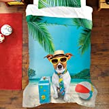3 Piece Tropical Dog Getaway Themed Comforter Set Full Size, Printed Vibrant Island Beach Paradise Bedding, Reversible Nature Palm Tree Motif, Whimsical Hawaiian Vibe Kids Bedroom, Ivory, Blue, Green