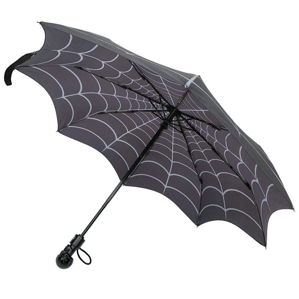 Kreepsville 666 Skull Handle Spiderweb Umbrella