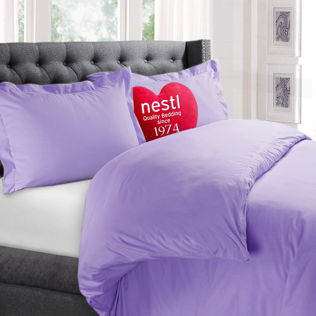 Nestl Bedding Microfiber Queen 3 Piece Duvet Cover Set - Lilac Lavender
