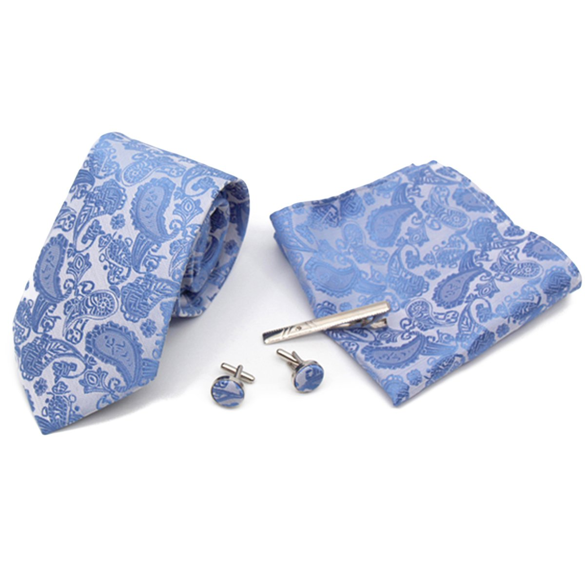 Herren Krawatte Box Set mit Einstecktuch Manschettenknöpfe und Krawattennadel Set S-TZ001