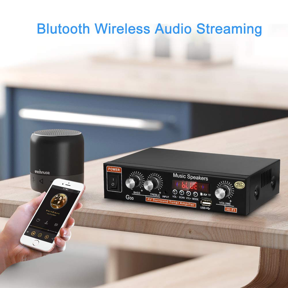 Mini Wireless Bluetooth Power Amplifier USB//Bluetooth//TF Card Supported ARCHEER 2 x 45W Dual Channel HiFi Home Audio Amplifier for Car Motorcycle Boat Tablet PC Laptops PA System iPhone