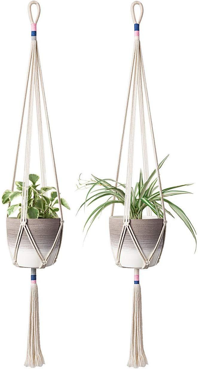 Mkono 2Pcs Macrame Plant Hanger Hanging Planter Color Basket Cotton Rope, 43 Inch