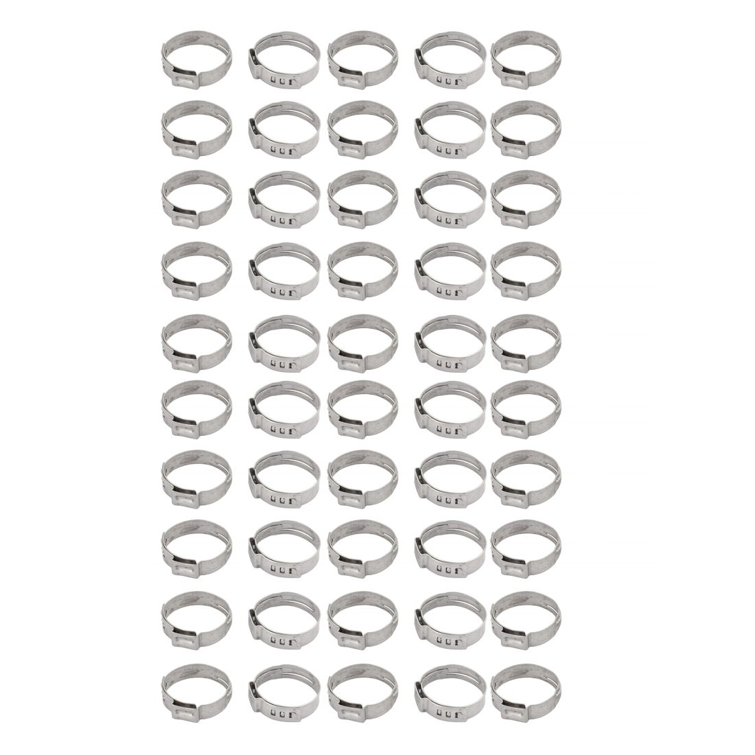 uxcell 20.9mm-24.1mm 304 Stainless Steel Adjustable Tube Hose Clamps Silver Tone 50pcs