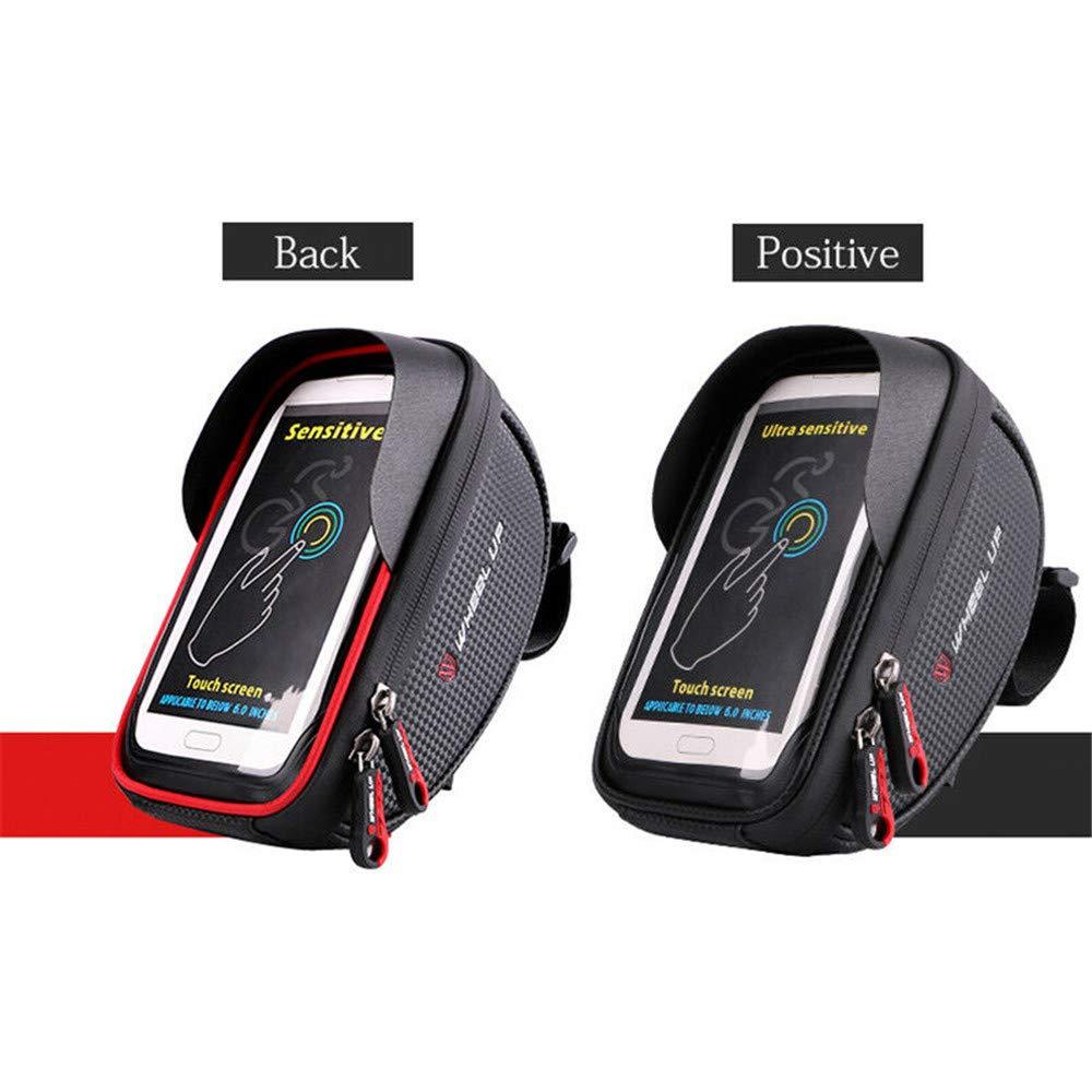 Negro Escalonado Superior Soporte para Tel/éfono con montaje de 6 Bolsa Para Tel/éfono Con Manillar Material de nylon Duradero E Impermeable De Alta Resistencia