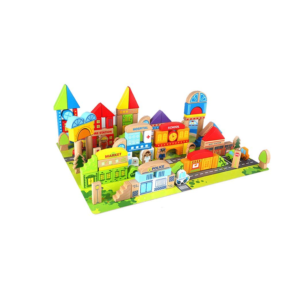 LIUFS-TOY Children's Toys Assembled Combination Blocks Wooden Situation Puzzle Early Education Over 3 Years Old (Color : Multi-Colored, Size : L)