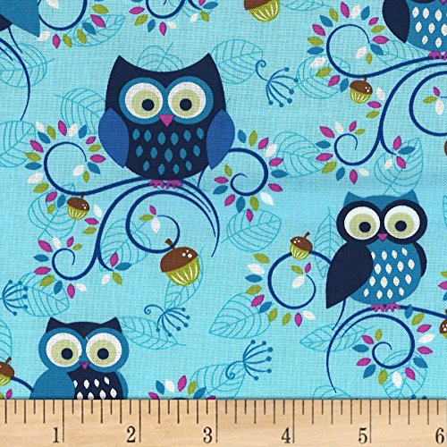 Michael Miller Fantasy Woods Little Happy Hooters Aqua Fabric by The Yard ()