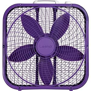 "Lasko Cool Colors 20"" Box Fan Durable Metal Frame Purple"