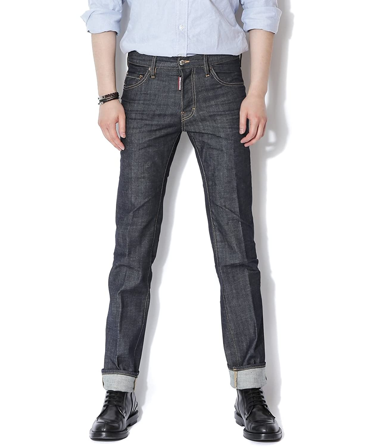 DSquared2 Men's Regular Fit Jeans With Leather Patch