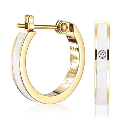 9ceea8f500c945 Amazon.com: (Selena Jewelry) Enamel Hoop Earrings With Front Side CZ Stone  Solid Yellow Gold Classic White (Deluxe Package): Jewelry
