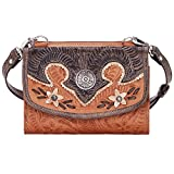 AMERICAN WEST LEATHER DESERT WILDFLOWER SMALL CROSSBODY BAG WALLET HANDBAG TAN