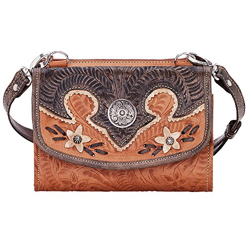 AMERICAN WEST LEATHER DESERT WILDFLOWER SMALL CROSSBODY BAG WALLET HANDBAG TAN by American West