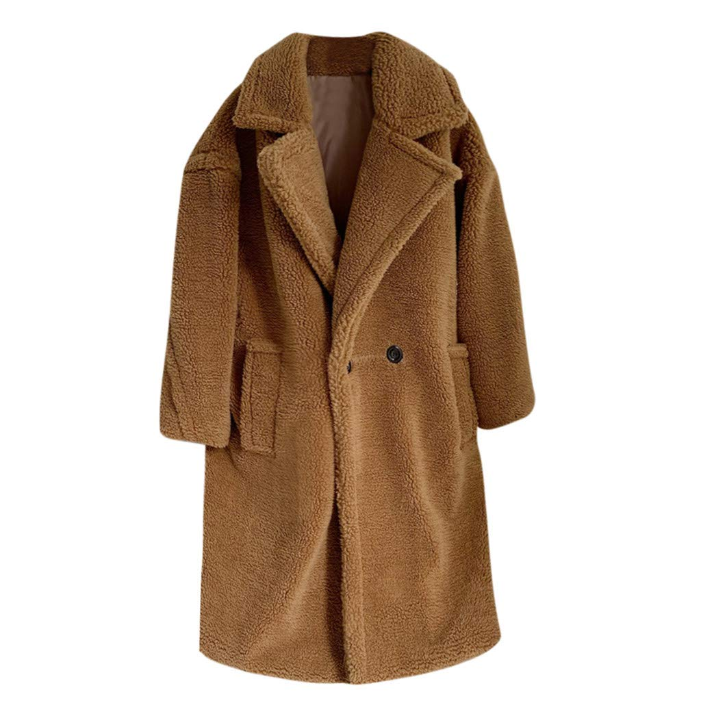 HCFKJ Women Tops Fashion Autumn and Winter Loose Medium Long Windbreaker Lamb Coat(Khaki,XS) by HCFKJ