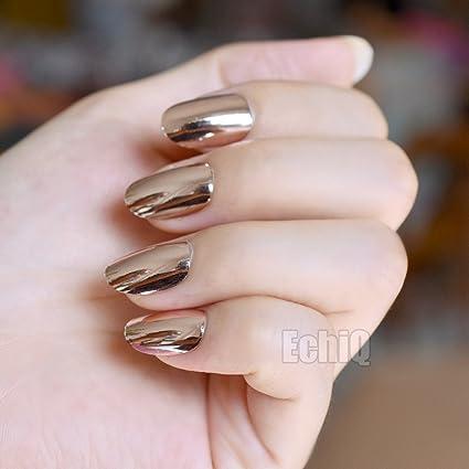 echiq Metal Plating champán espejo uñas postizas metálico reflectante cabeza redonda uñas postizas para Fashion Lady