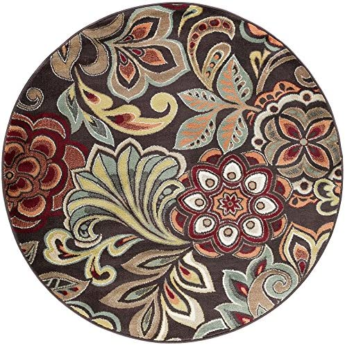 Dilek Transitional Floral Brown Round Area Rug, 5 Round