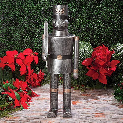 Bits and Pieces - Holiday Soldier Metal Statue - Garden Sculpture Measures a Giant 32-1/2