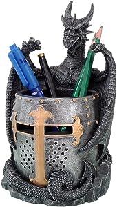 Pacific Giftware Dragon Statue with Warrior Helmet Desktop Utility Stationery Pencil Holder Organizer Office or Desktop