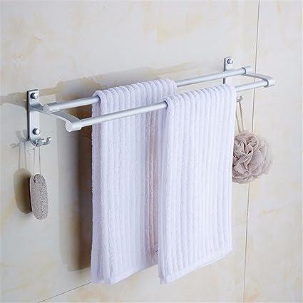 Hlluya Toallero Barra Doble baño toallero Gancho casa de Dos Pisos de Espacio Multiuso de Aluminio