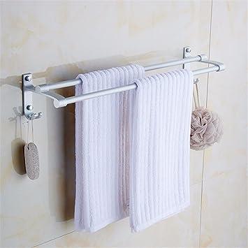 Hlluya Toallero Barra Doble baño toallero Gancho casa de Dos Pisos de Espacio Multiuso de Aluminio de Toallas de baño,40cm: Amazon.es: Hogar
