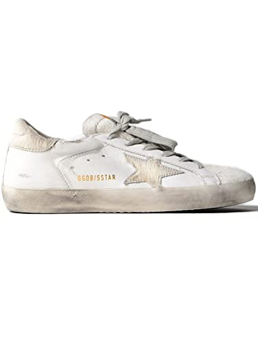 c3d6df5bbf9 Golden Goose Deluxe Brand Women's Low Top Fashion Sneakers Superstar Silver  Horsy Star in Leather G32WS590.E67