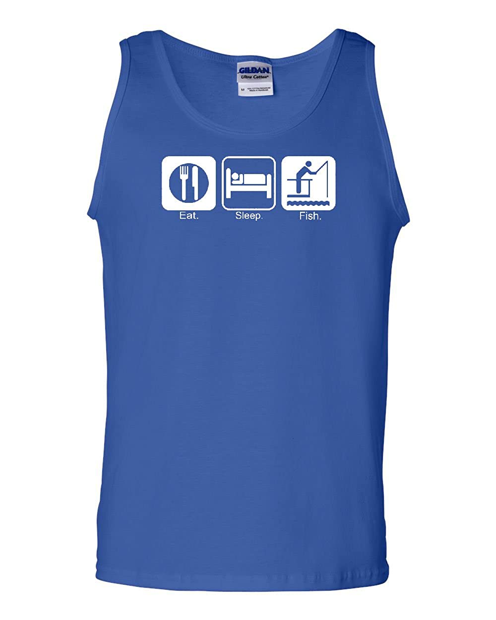 Eat Sleep Fish Tank Top Funny Fishing Camping Muscle Shirt
