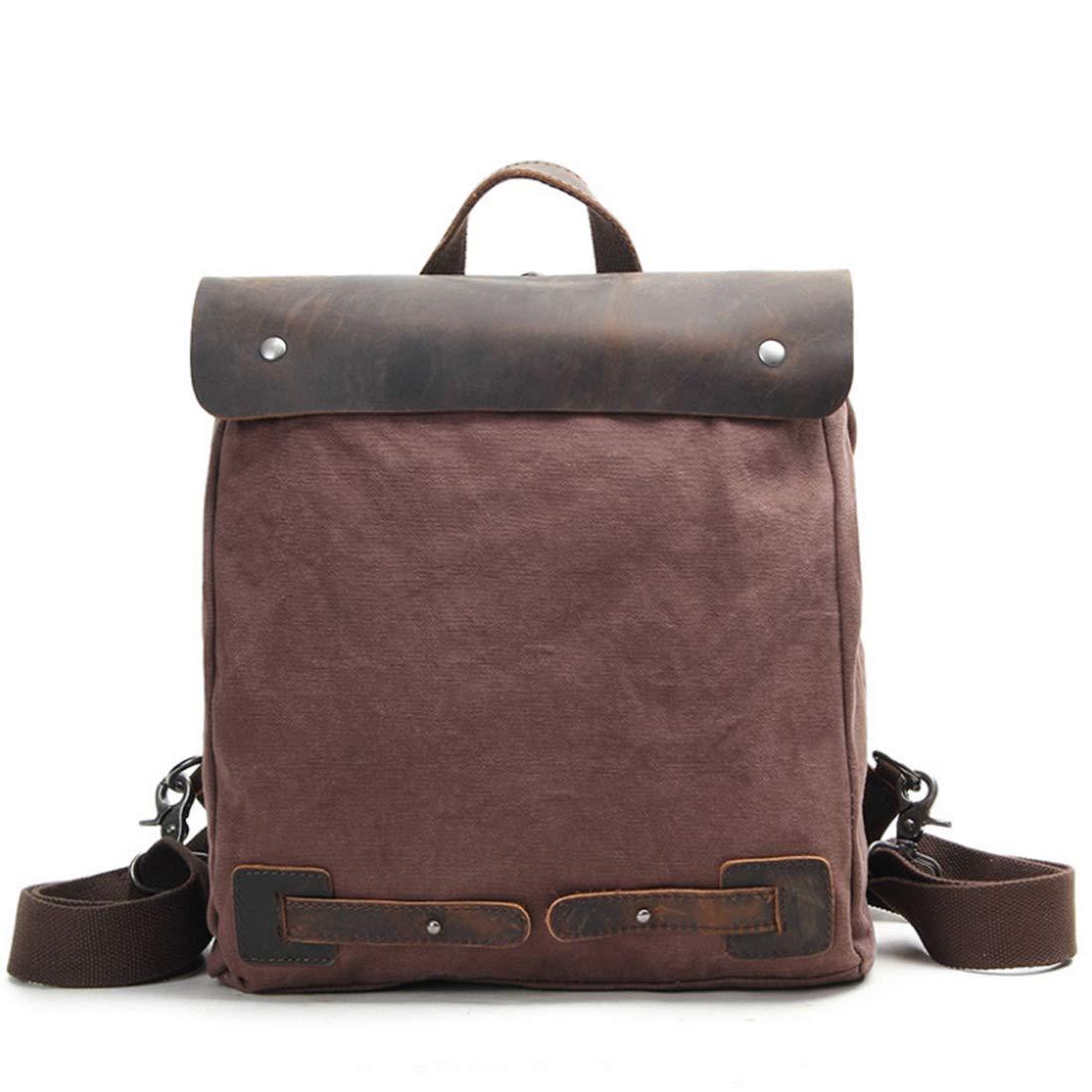 Derenu 学生バッグラップトップショルダーバッグレトロバックパッククレイジーホースレザーキャンバスバッグ (色 : コーヒー色)  コーヒー色 B07QQW16V1