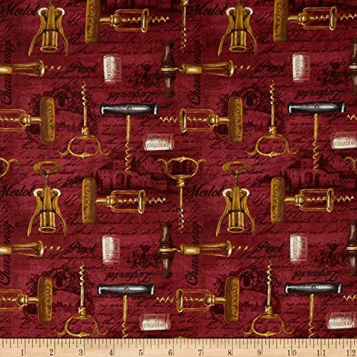 - Blank Quilting Vineyard Valley Corkscrews Fabric, Burgundy, Fabric By The Yard