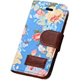 Culater® Blue Magnetic Wallet Floral Jacquard Leather Cover Case For iPhone 5C