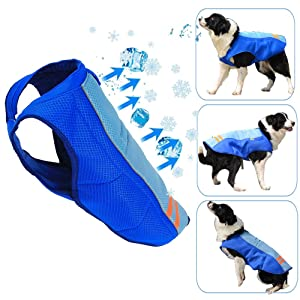 SHITONGDA Dog Cooling Vest, Breathable Cooling Coat Outdoor Anti-Heat Summer Blue Jacket Clothes for Medium and Large Pet Dogs