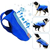 Dog Cooling Vest, Breathable Cooling Coat Outdoor Anti-Heat Summer Blue Jacket Clothes for Medium and Large Pet Dogs