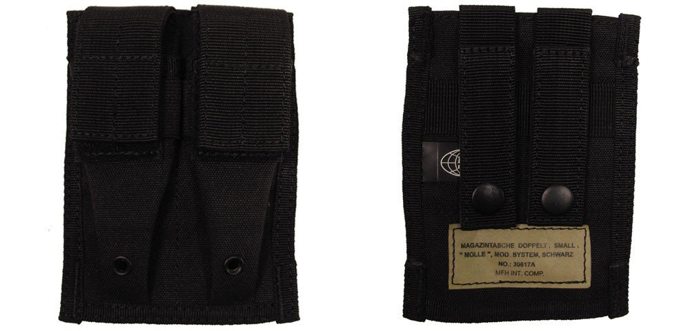 DOUBLE MFH PISTOL MAG POUCH - MOLLE PISTOL MAG POUCH BLACK