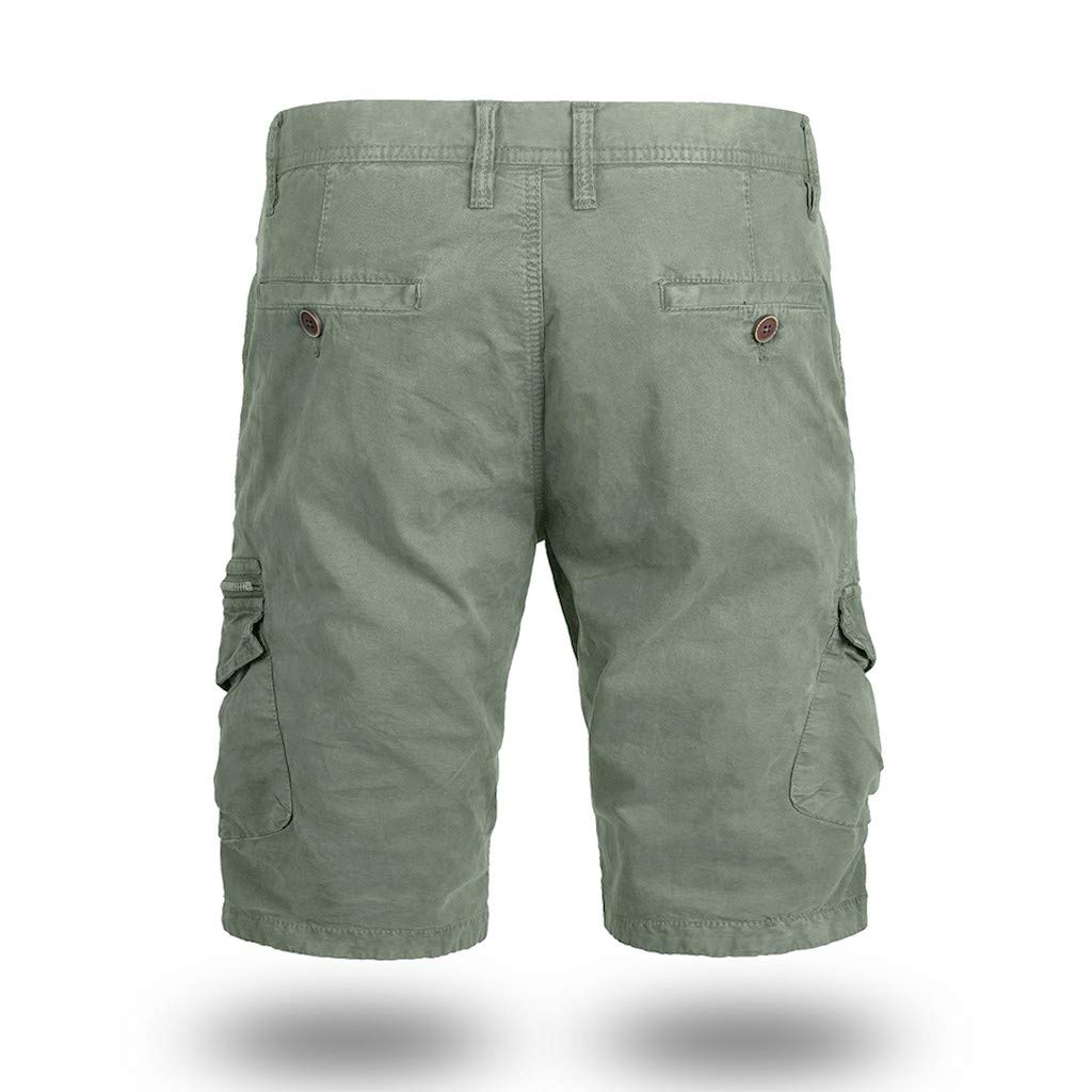 Men's Cotton Casual Cargo Shorts Loose Fit Outdoor Wear Elastic Waist Shorts with Pockets Army Green by Zainafacai_shorts (Image #3)