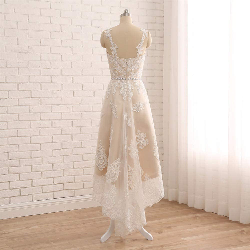 Detachable Skirt Lace Wedding Dress Spaghetti Straps High Low Wedding Gowns