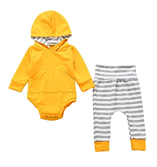 825b06be1 Urkutoba 2pcs Newborn Infant Baby Boy Girl Hooded Sweater Romper Tops+Striped  Long Pants Outfit