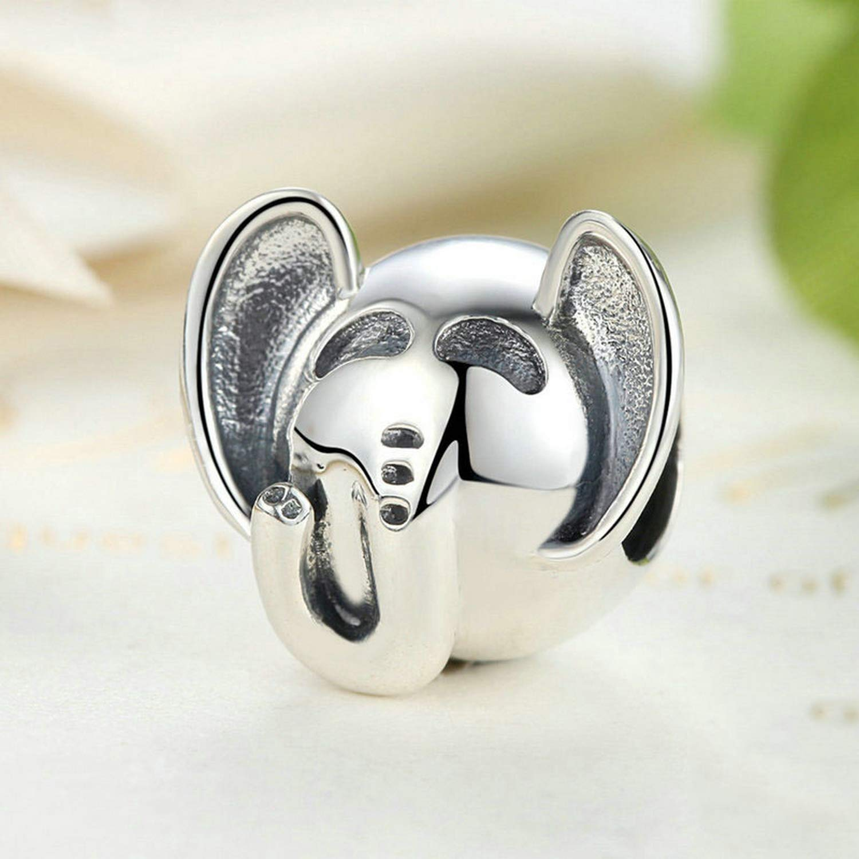 Evereena Silver Beads Bracelet for Girls Elephant Head Animal Charm Womens Jewelry