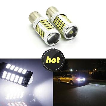 2 bombillas LED blancas 1156 2835 66SMD, para luz de marcha atrás, intermitentes, frenos y luz de circulación diurna P21 W 1156 7506 BA15S: Amazon.es: Coche ...