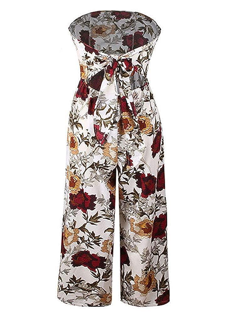 Women Floral Print Jumpsuit Off Shoulder Backless Thigh High Split Wide Leg Night Club Sleeveless Romper Overalls