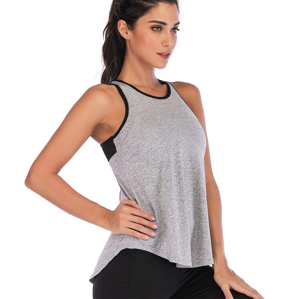 Mlide Womens Womens Summer Solid Color Shirts Sleeveless Casual Racerback Workout Tank Tops Gray