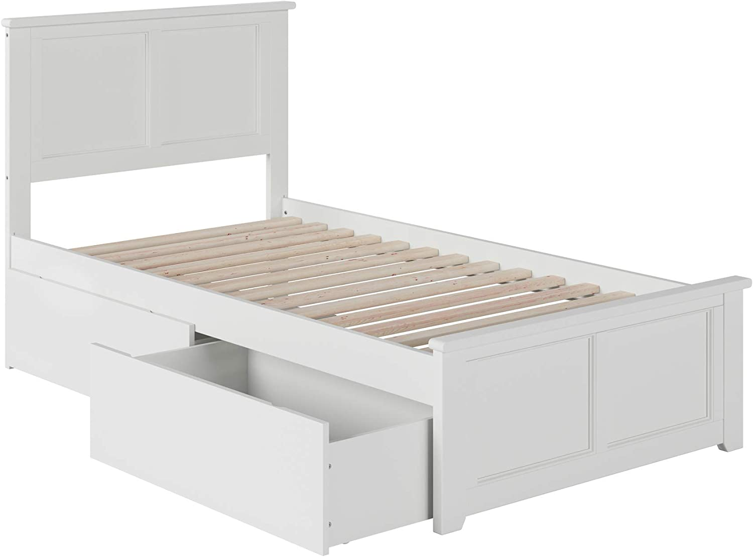 Atlantic Furniture Madison Platform Bed with Matching Foot Board and 2 Urban Bed Drawers, Twin, White