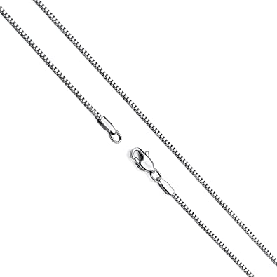 Amazon Com Hollywood Jewelry 14k White Gold Box Chain Necklace Gold Over Semi Precious Metals Pendant Chocker Necklace Made Thin For Charms Strong Comes In Box Gift Lobster Clasp 20 Jewelry