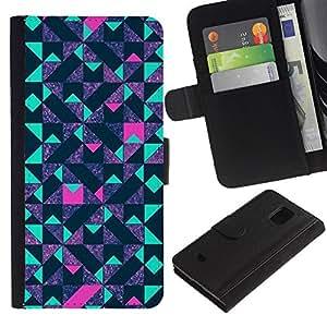 UberTech / Samsung Galaxy S5 Mini, SM-G800, NOT S5 REGULAR! / Pattern Teal Pink Futurist Purple / Cuero PU Delgado caso Billetera cubierta Shell Armor Funda Case Cover Wallet Credit Card