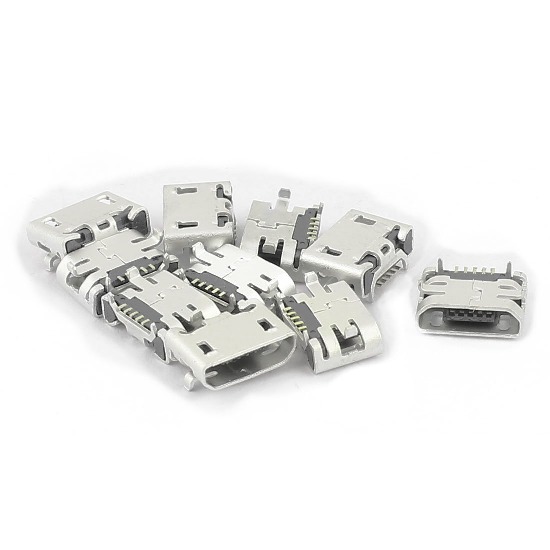 uxcell 10Pcs Type B Micro USB 5 Pin Female Jack Port Socket Connector Adapter for Phone