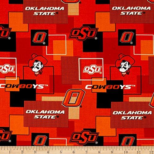 Sykel Enterprises Collegiate Cotton Broadcloth Oklahoma State University Block Print Fabric, Orange, Fabric by the yard